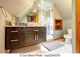 vautled ceiling and glass door shower