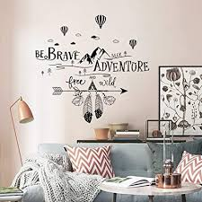Amazon Com Decalmile Inspirational Wall Decals Quotes Be Brave Seek Adventure Mountains Hot Air Balloons Wall Stickers Kids Bedroom Living Room Wall Decor Arts Crafts Sewing