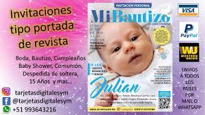 Invitaciones Tipo Portada De Revista Cumpleanos Boda Bautizo