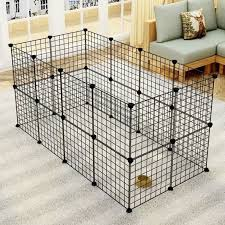 Pet Playpen Small Animal Cage Indoor Portable Metal Wire Yard Fence For Small Animals Guinea Pigs Rabbits Kennel Crate Fence Tent Black 24 Walmart Com Walmart Com