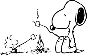Snoopy And Woostock Roasting Marshmallows Around A Campfire Decal Sticker 01