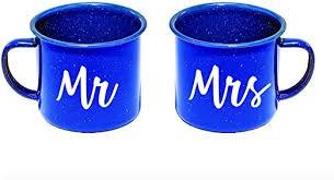 Amazon Com Celycasy Mr And Mrs Camping Mugs Vinyl Decal Enamel Mug Custom Mug Drinking Mug Camping Mug Kitchen Dining