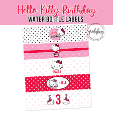 Hello Kitty Birthday Water Bottle Labels Drink Wrappers Etsy