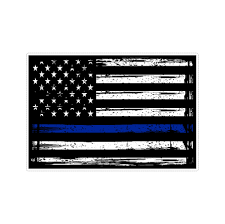Thin Blue Line Us American Flag Support Police Stressed Vinyl Car Stic Doggy Style Gifts