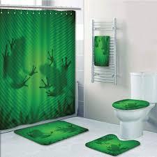 Prtau Frog Shadow Silhouette On The Banana Tree Leaf In Tropical Lands Jungle Games 5 Piece Bathroom Set Shower Curtain Bath Towel Bath Rug Contour Mat And Toilet Lid Cover Walmart Com