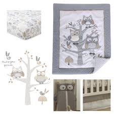 Levtex Baby Night Owl Crib Bed Set Baby Nursery Set Grey Tan And Cream Owls In A Tree 5 Piece Set Includes Quilt Fitted Sheet Diaper Stacker