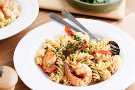 Fusilli with prawns and gremolata cream ...