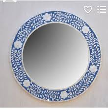 blue frame handmade round wall mirror