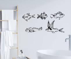 Wall Decal Bathroom Fishing Club Marine Ocean Sea Fish Vinyl Decor 35 Wallstickers4you