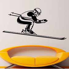 Waterproof Wall Stickers Winter Sport Skiing Skier Wall Decals Home Decor Vinyl Art Wall Murals For Rooms Winter Home Decor Olivia Decor Decor For Your Home And Office