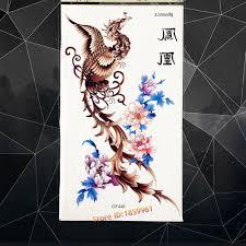 Duzy Feniks Nirvana Latajace Tymczasowy Tatuaz Piwonia Kwiat