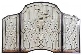 clear glass folding fireplace screen