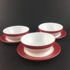 set arcopal glass bowl plate red stripe