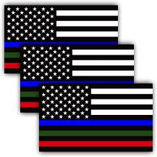 Amazon Com Anley 5 X 3 Inch Thin Line Us Flag Decal Blue Green And Red Reflective Stripe American Flag Car Stickers Support Police Military And Fire Officers 3 Pack Automotive