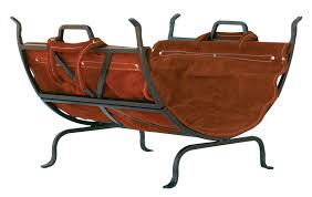 log holder with suede leather carrier
