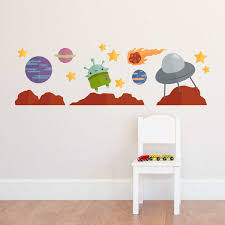 Outer Space Alien Printed Wall Decal Set