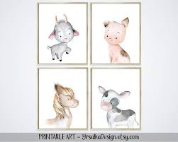 Farm Nursery Wall Decor Kids Room Farm Animal Art Prints Set 4 Etsy