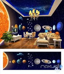Solar System Planet Theme Space Entire Room Wallpaper Wall Mural Decal Idecoroom