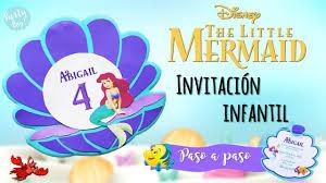 La Sirenita Ariel Invitacion Infantil Diy Para Tu Fiesta