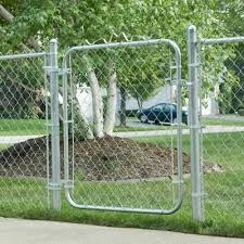 Yardgard 6 Ft W X 4 Ft H Galvanized Metal Adjustable Single Walk Through Chain Link Fence Gate 3283ad48 The Home Depot Chain Link Fence Gate Fence Gate Chain Link Fence