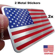 2x Metal American Flag Sticker Decal W 3m Adhesive Backing For Auto Truck Car Ebay