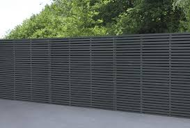 1 8m X 1 8m Grey Painted Contemporary Double Slatted Fence Panel Forest Garden