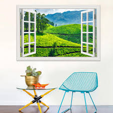 3d Window Decal Wall Sticker Green Tea Garden Beautiful Landscape Wallpapers Pvc Vinyl Sticker Mural Art Home Decor White Vinyl Wall Decals White Wall Decals From Asenart 10 26 Dhgate Com