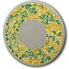 round green and yellow mosaic wall mirror