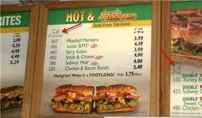 subway menu calories listed nationally