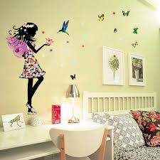 Butterfly Fairy Elf Wall Stickers Girls Bedroom Decorations Flowers Birds Decals For Sale Online