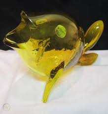 blenko art glass fish sculpture mid