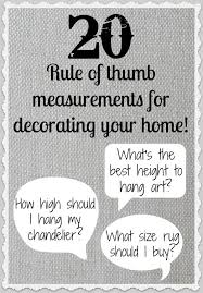 20 rule of thumb measurements for