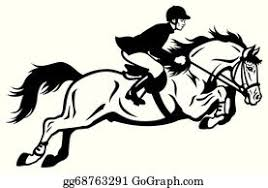 Eps Illustration A Horse Jumping Over The Fence Vector Clipart Gg64032459 Gograph