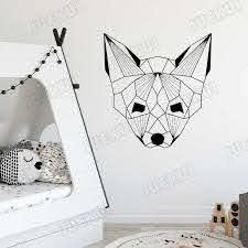 Fox S Head Geometric Pattern Art Wall Stickers For Nursery Kids Room Sweet Home Decor Vinyl Wall Decals Bedroom Poster Ta404 Wall Stickers Aliexpress