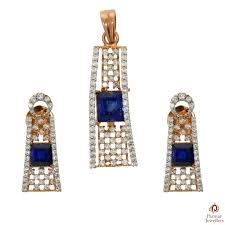blue white stone rosegold pendant set