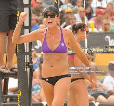 BEACH, CALIF. USA -- Jennifer Fopma celebrates a point during the ...