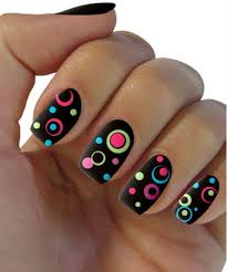 black dotted nail art designs for s