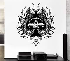 Wall Decal Skull Skeleton Playing Card Suits Death Spades Vinyl Decal Wallstickers4you