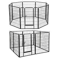 Yaheetech 40 Inch 8 Panel Pets Playpen Dog Exercise Pen Cat Fence With Door Puppy Rabbits Portable Play Pen Pet Dogs Puppies Cat Exercise Metal Dog Kennel
