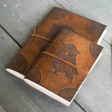 owl embossed leather notebook
