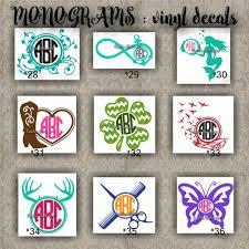 Monogram Vinyl Decals Name Initial Decal Sticker Car Decals Car Stickers Laptop Sticker 28 36 Free Monogram Fonts Cricut Crafts Vinyl Decals