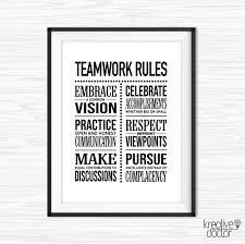 Teamwork Signs Teamwork Rules Wall Art Teamwork Quotes Etsy In 2020 Office Wall Art Teamwork Quotes For Work Printable Motivational Quotes