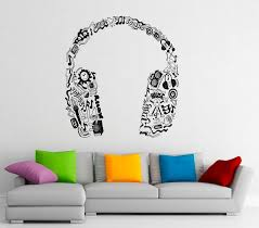 Music Headphones Wall Decal Vinyl Stickers Music Notes Home Etsy