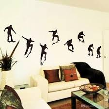 Skateboard Sports Wall Stickers Snowboard Boys Cool Man Art Murals Wall Decals Sticker Wallpaper Black For Living Room Bedroom Home Decor Decorative Decals Decorative Decals For Walls From Yinke Home 2 16 Dhgate Com