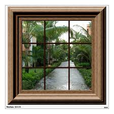 Faux Window Decal Tropical Landscape Wall Mural Zazzle Com