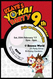 Yokai Watch Personalizado Invitacion Invitaciones Fiesta