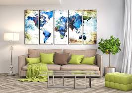 Amazon Com Detailed World Map Multi Panel Canvas Wall Art Push Pin World Travel Map Large Wall Art For Living Room Framed World Map Wall Decal With Countries Hr12 Handmade