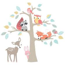Shop Lambs Ivy Little Woodland Animals And Tree Jumbo Nursery Wall Decals Appliques Overstock 23484325