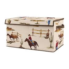 Amazon Com Sweet Jojo Designs Cowboy Wild West Boy Small Fabric Toy Bin Storage Box Chest For Baby Nursery Or Kids Room Tan And Red Western Southern Country Baby