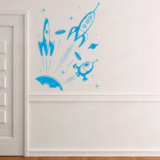 Spaceship Wall Decal Out Of This World Boys Bedroom Decoration Playroom Or Children Room Decor Wl1579 Wall Stickers Aliexpress